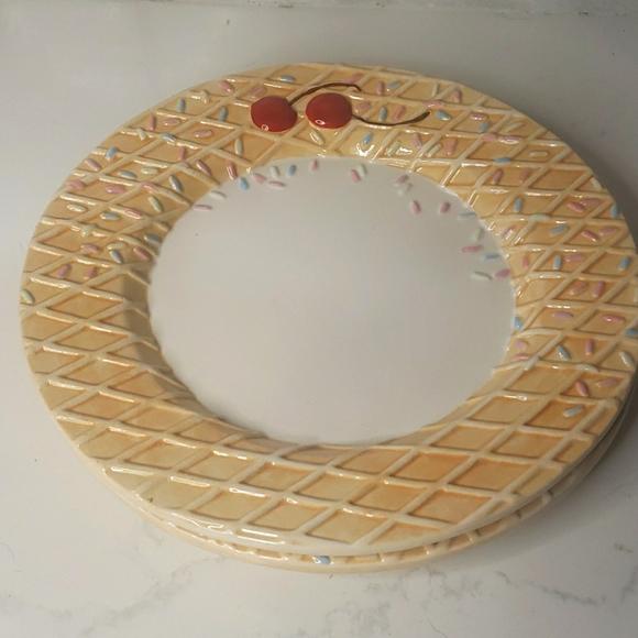 Cake plates ice cream waffle sprinkles cherries